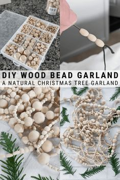 DIY Wood Bead Christmas Tree Garland: Making a Wood Bead Garland : Learn how to make a DIY wood bead Christmas tree garland using unfinished wood beads in different sizes. A beautiful addition to your tree or mantle! Farmhouse Christmas Decor, Rustic Christmas, Simple Christmas, Handmade Christmas Decorations, Christmas Holidays, Christmas Mantels, Minimalist Christmas Tree, Victorian Christmas, Chritmas Diy