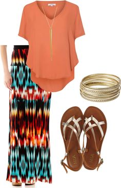 maxi skirt with flowy top