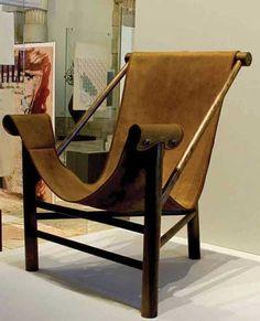 Lina Bo Bardi; Tubular Iron and Leather 'Tripod' Chair, 1948.