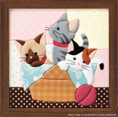 Crochet Cat Applique Pictures Ideas For 2019 Crazy Quilting, Patchwork Quilting, Patchwork Cushion, Patchwork Baby, Patchwork Patterns, Applique Patterns, Applique Quilts, Applique Designs, Quilt Patterns