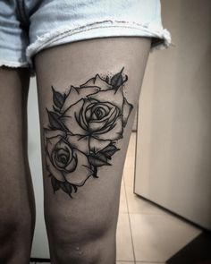 Black Rose Tattoo | Don't think I'd have the guts for the thigh.  But the pelvis to the back, with a vine to cover my old one...#BlackAndWhite