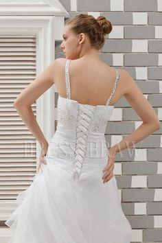 Fabulous A-line V-neck Floor-length Chapel Appliques & Ruffles Anita's Wedding Dress: Dressbraw.com