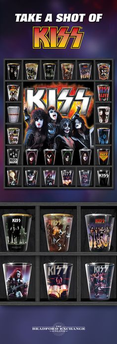 Drink to some true rock legends with this limited-edition shot glass collection! Each set of 4 showcases iconic KISS album artwork, band logos and more. Plus, 22K gold and platinum details celebrate the accomplishments of these music pioneers.