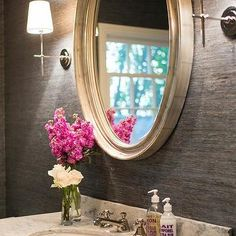 Marble Washstand with Silver Oval Mirror
