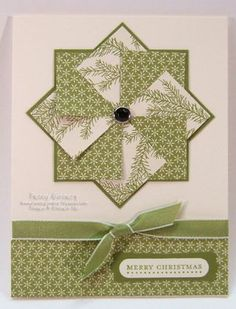 "I had so much fun making this card you've got to try it.  All you need is 8 - 1-1/4"" squares of designer paper (4 of each design) and 2 - 2-5/8"" squares of card stock.  This technique was inspired by Barb Mullikin.  This is a great technique to use up your scrap designer paper."