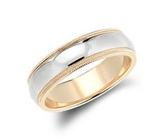 Double Milgrain Comfort Fit Wedding Ring in 14k White and Yellow Gold (6mm) #bluenile