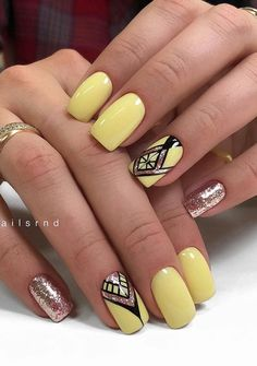 31 Best Yellow Manicure Nails Design For Short Square Nails - Page 14 of 31 - Latest Fashion Trends For Woman Manicure Nail Designs, Nail Manicure, Nails Design, Nail Polish, Square Nail Designs, Cool Nail Designs, Fun Nails, Pretty Nails, Long Gel Nails