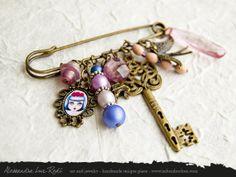 portrait cameo brooch Rose Tea art jewelry by AlessandraLuxRedi
