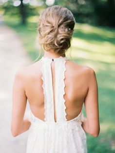 Bohemian T back lace wedding dress: http://www.stylemepretty.com/little-black-book-blog/2015/11/16/rustic-stone-manor-country-club-wedding/   Photography: Krista A Jones - http://kristaajones.com/
