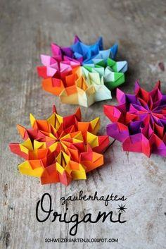 Wie ein knallbuntes Feuerwerk sehen sie aus, die beweglichen Origami-Objekte.  Meine Tochter hat sie schon im November gemacht, aber ich ka...