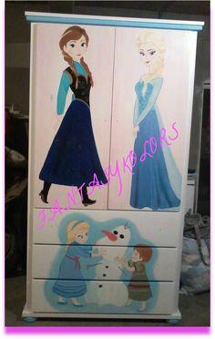 armario madera  pintado a mano frozen, ordenalo ahora en fantasykolors@hotmail.com