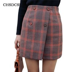 Fashion Winter Thick Work Mini Skirts For Women Work Tartan Wool With Warm Button A Line Office Empire Plaid Pleated Skirt D046