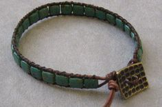 Czech-mate 2-hole tile beads used to make a wrap bracelet --- Design Ideas from RUBY TUESDAY BEAD COMPANY in Long Beach, CA