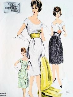 1960s Lovely Evening Cocktail Dress, Strapless Slip and Stole Pattern Wide Open Scoop Neckline, Figure Flattering Midriff Dress Ideal For Lace Vogue Couturier Design 1002 Vintage Sewing Pattern Bust 36
