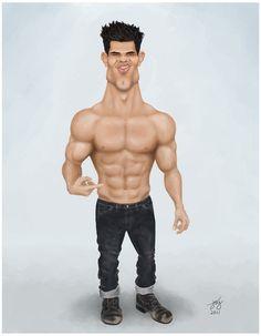 Taylor Lautner digital caricature twilight