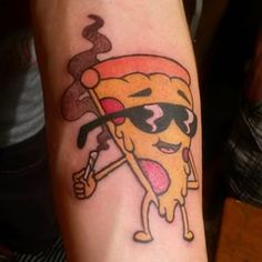 Do you think when he gets the munchies he eats himself? | 31 Totally Pizzariffic Pizza Tattoos