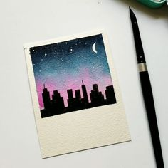 City night sky Using Jane Davenport watercolors to create thisYou can find Aquarelle painting and more on our website.City night sky Using Jane Davenport watercolo. Cute Canvas Paintings, Small Canvas Art, Mini Canvas Art, Mini Paintings, Painting Canvas, Painting Prints, Art Prints, Aesthetic Painting, Aesthetic Drawing