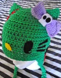 Hello kitty zombie   crochet hats  punk by CandyKidsCreations, $35.00