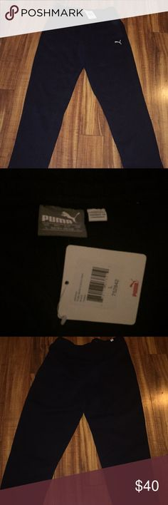 Men's PUMA fleece Pants black New New with tags size large Puma Pants Sweatpants & Joggers