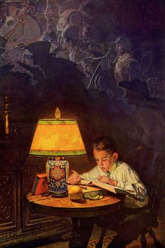 Boy Reading of Adventure Canvas Wall Art by Norman Rockwell | iCanvas