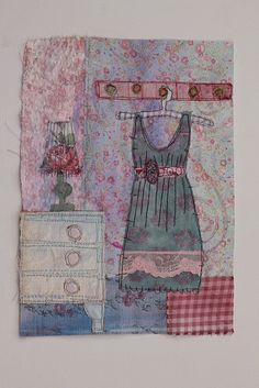 Made on a course with Priscilla Jones at Harrogate Embroiderers Guild. A great way to recycle old fabrics (Explore ) Freehand Machine Embroidery, Free Motion Embroidery, Free Machine Embroidery, Embroidery Applique, Fabric Cards, Fabric Postcards, Fabric Paper, Textiles, Fabric Journals