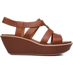 Camper Women's Damas T-Strap Sandal Wedge Sandal ($72) ❤ liked on Polyvore featuring shoes, sandals, camper footwear, t strap wedge shoes, wedge heel platform shoes, platform shoes and camper shoes