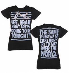 Damer Pinky och hjärnan tar över världen T-Shirt