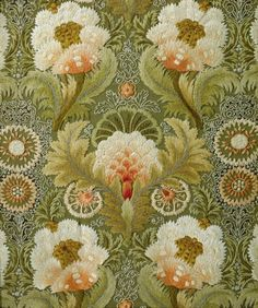 Silk Embroidery with Flowers and Leaves, attributed to Leek Embroidery Society, 1885 - 1895 (design-is-fine via beautifulcentury) Embroidery Supplies, Embroidery Patterns, Embroidery Materials, Modern Embroidery, Wm Logo, Lesage, Passementerie, Silk Ribbon Embroidery, Embroidery Thread