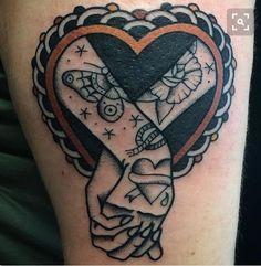 ideas tattoo old school heart body art Trendy Tattoos, Love Tattoos, Beautiful Tattoos, New Tattoos, Watch Tattoos, Tattoo Old School, Hand Tattoos, Body Art Tattoos, Portrait Tattoos