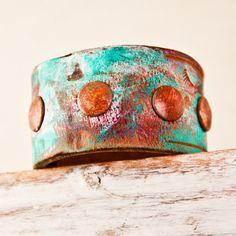 Earth Day Cuff Bracelet Vintage Leather Jewelry Eco door rainwheel