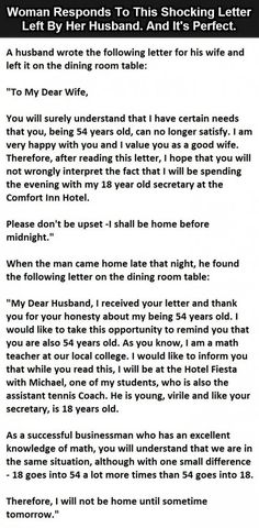Husband Leaves Shocking Letter For His Wife - Then She Responds