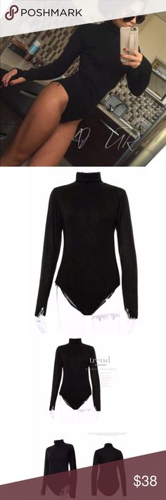 2a8341cbfc Ladies black knit turtleneck bodysuit A super soft and sexy black  turtleneck bodysuit. The perfect