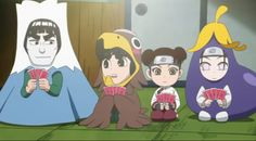 Team Guy disguised || Rock Lee and His Ninja Pals. And instead of cross-dressing, Neji's wearing...an eggplant costume? ROFL!