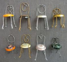 Champagne Chairs  We found these adorable chairs over at Martha Stewart Living. They're simply made from the wireframes of champagne bottles, bent into chair shapes with pliers. Hosanna Houser, Martha Stewart Lead Crafter, writes the event and dates on the bottoms of hers to remember weddings and New Year's Eves past.     Cost: $0     Image: Martha Stewart Living