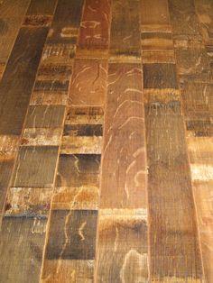Reclaimed wine/bourbon barrel flooring!! Love this!!!