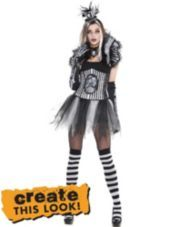 Womens Charming Black and Bone Skeleton - Party City