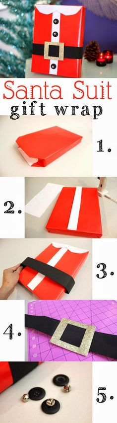 Santa Suit Gift Wrap A DIY gift wrap idea that puts the ho-ho-ho in the holidays! A Santa Suit gift wrap, complete with collar and [. Creative Gift Wrapping, Creative Gifts, Wrapping Ideas, Gift Wrapping Tutorial, Winter Christmas, All Things Christmas, Xmas Holidays, Christmas Ideas, Holiday Crafts