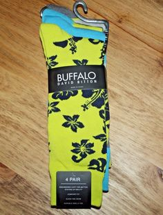 BUFFALO DAVID BITTON 4 PAIR CREW SOCKS YELLOW BLUE GRAY ~ FITS MEN SHOE 6-12.5  | Clothing, Shoes & Accessories, Men's Clothing, Socks | eBay! #Socks #