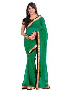 Green Chiffon Saree with Lace Work