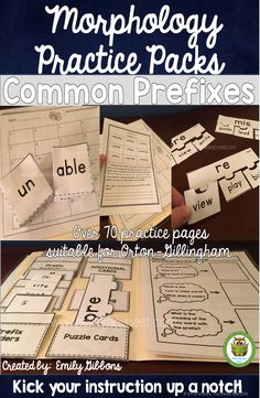 Prefix activities to build morphological awareness. Use with Orton-Gillingham approach and Orton-Gillingham lessons. Spelling Activities, Language Activities, Beginning Reading, Guided Reading, Tutoring Business, Fluency Practice, Reading Words, Reading Specialist, Gillingham