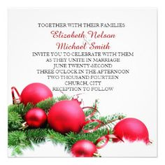 Red Christmas Balls Wedding Invite