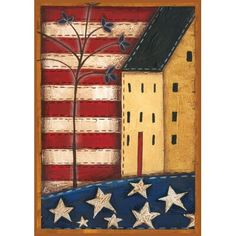 The Toland Home Garden Land of the Free Decorative Flag lends a touch of Americana to your garden or patio. This outdoor flag is made of weather-resistant. Primitive Painting, Primitive Folk Art, Country Primitive, Primitive Crafts, Americana Crafts, Country Crafts, Patriotic Crafts, Patriotic Flags, July Crafts