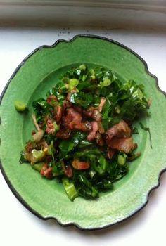 Nigel Slater - Kitchen - spring greens, bacon