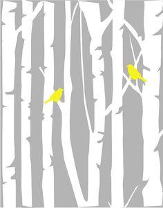 Modern Yellow and Gray Nursery Set  Birch Tree Love by karimachal, $40.00
