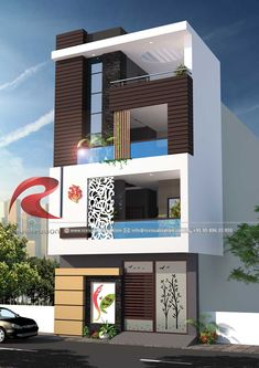 3D Narrow House Designs Gallery   RC Visualization Structural Plan and Elevation Designing Company