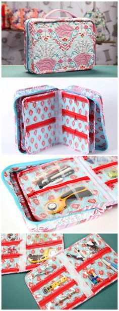 How to sew stylish and sturdy travel bags and organisers. Includes a cosmetics/toiletries roll, and a small suitcase with removable zippered inserts. Sewing patterns and full step by step video tutorials. More
