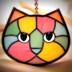 Pastel Calico Stained Glass Kitty Cat Face by LivingGlassArt, $40.00