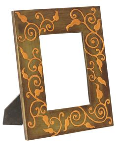 Bulk Wholesale Hand-Carved Wooden Olive-Green Colored Photo-Frame / Picture Holder with Painting of Leaves in Golden Color – Ethnic-Look Home Décor from India