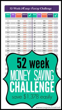52 Week Money Saving Challenge - Save $1389 Without Even Feeling It