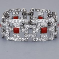Coral and Diamond Bracelets